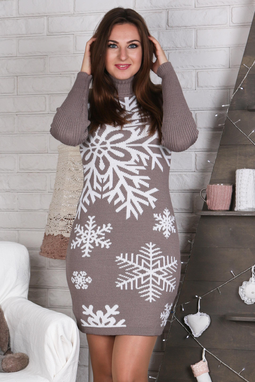теплое вязаное платье снежинка капучино белый